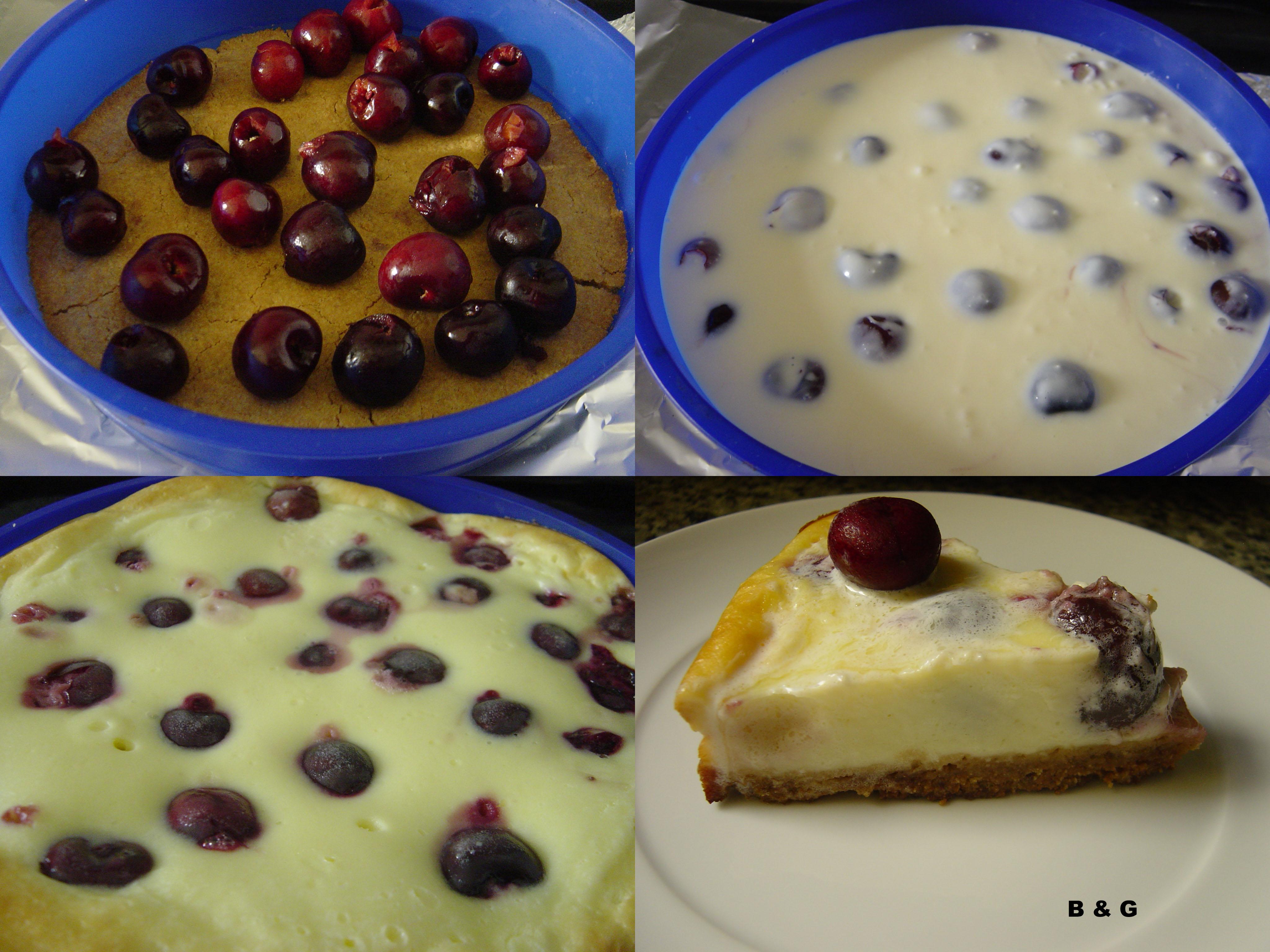 Pastel de queso y cerezas: si le ponemos cerezas ya es un pastel insuperable :)